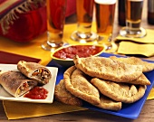 Calzones with Marinara Sauce; Beer