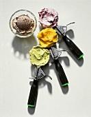 Three Ice Cream Scoops with Ice Cream