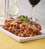 A Slice of Meat Lasagna on a Plate