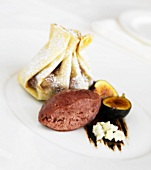 Chocolate Filled Pastry Purse with Raspberry Sorbet, Blue Cheese and Figs