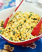 Corn with Diced Zucchini in a Serving Bowl