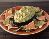 Avocado Dip with Chips on a Platter