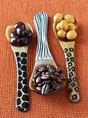 Coffee beans with & without chocolate coating, animal print spoons