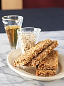 Granola Bars on a Plate with Oats