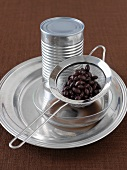 Canned Black Beans Straining in Sieve