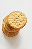 Stack of Round Wheat Crackers