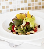 Spring Salad with Blood Orange, Pear and Nuts; Squash Chips