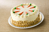 Whole Carrot Cake with Frosting Carrot Decoration