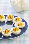 Deviled Eggs on a Blue Plate, Bowl of Eggs