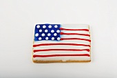 An American Flag Cookie on a White Background