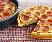 Pepperoni Pan Pizza with Slice Removed