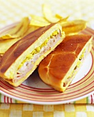 Cuban Sandwich with Pork, Cheese, Pickles and Mustard