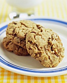 Three Oatmeal Cookies on a Plate
