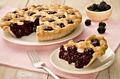 Lattice Blackberry Pie with Slice Removed, Blackberries