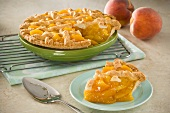 Lattice Peach Pie with Slice Removed, Fresh Peaches