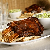 Barbecue Beef Ribs with French Fries