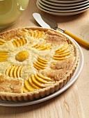 Whole Peach Almond Tart; Server
