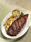 Slab of Barbecue Baby Back Ribs; Fries