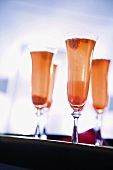 Raspberry Champagne in Flutes