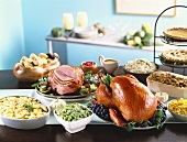 Buffet with Roast Turkey and Ham with Assorted Sides