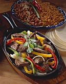 Beef and Pepper Fajita Skillet with Tortillas, Beans and Rice