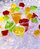 Jello Cups and Cubes on Ice