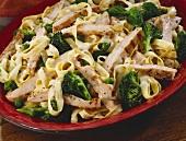 Chicken Fettuccini with Broccoli and Cream Sauce