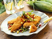 Fried Fish Fillets with Corn Salsa