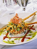 Asian Timbale with Salmon, Shredded Vegetables, Sesame Seeds and Rice