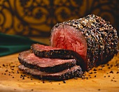 Partially Sliced Peppered Beef Roast