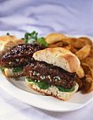 Stuffed Grilled Hamburger; Halved