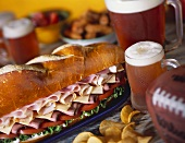 Party Sub with Beer and Chips