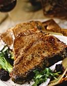 T-Bone Steaks with Blackberries