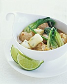 Bowl of Asian Soup with Bok Choy