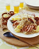Choucroute Garni; Sauerkraut with Sausage and Potato