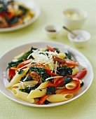 Penne with Red Bell Pepper, Spinach and Sausage