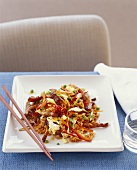 Asian Stir Fry Over Rice; Chopsticks
