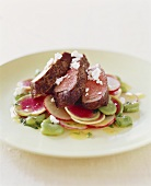 Sliced Steak Over Radishes with Goat Cheese