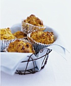 Rustic Homemade Muffins in Wire Basket