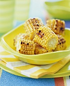 Grilled Corn on the Cob in a Yellow Bowl