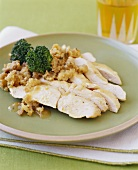 Sliced Turkey with Stuffing and Broccoli