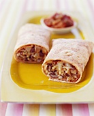 Halved Bean and Rice Burrito