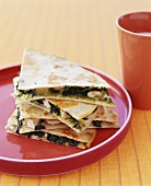 Spinach and Cheese Quesadillas; Stacked on Plate