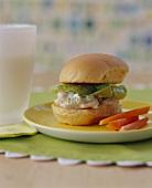Mini Chhicken Salad Sandwich on a Bun; Carrot Sticks