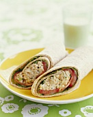 Chicken Salad Wrap with Tomato and Lettuce