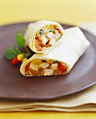 Chicken and Bell Pepper Wrap; Halved