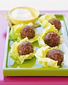 Meat Ball Appetizers in Lettuce Leaves