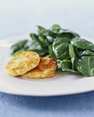 Breaded Goat Cheese Patties with Spinach