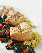 Salmon Chunks over Rice and Wilted Spinach