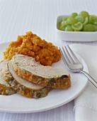 Sliced Turkey with Mashed Sweet Potato